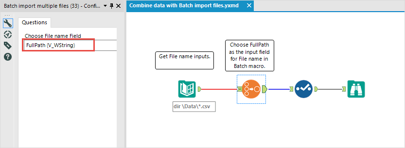Use the batch macro to import multiple files in a standard workflow